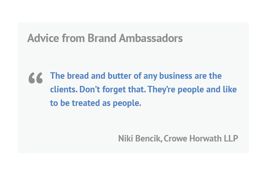 quote from Niki Bencik from Crowe Horwath LLP