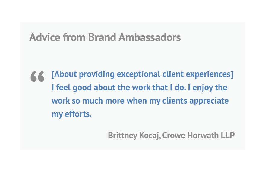 quote from Brittney Kocaj from Crowe Horwath LLP
