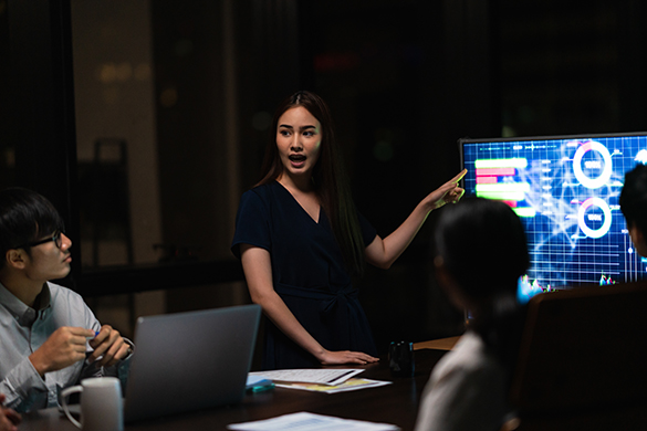 Woman presenting a new idea to colleagues