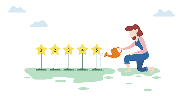 Woman with a watering can kneeling to water five stars